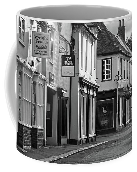 English Village Coffee Mug featuring the photograph Church Street Sawbridgeworth In Black And White by Gill Billington