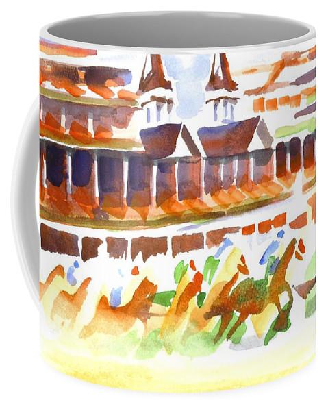 Churchill Downs Watercolor Coffee Mug featuring the painting Churchill Downs Watercolor by Kip DeVore