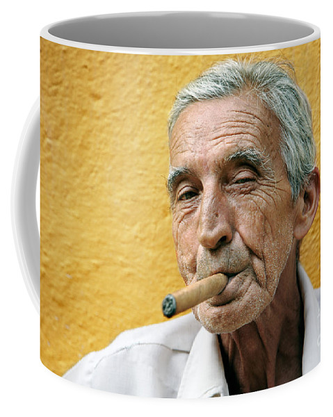 Portrait Coffee Mug featuring the photograph Cigar Smoking - Trinidad - Cuba by Rod McLean