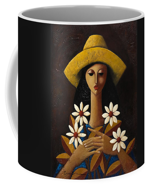 Puerto Rico Coffee Mug featuring the painting Cinco Margaritas by Oscar Ortiz