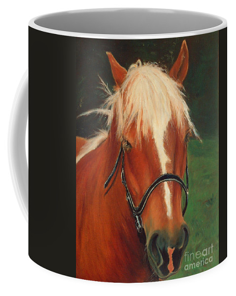 Euqestrian Art Coffee Mug featuring the painting Cinnamon The Horse by Portraits By NC