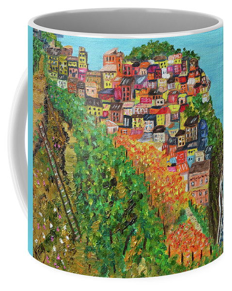 Cinque Terre Coffee Mug featuring the painting Cinque Terre, Ocean Seascape Art by Kathy Symonds