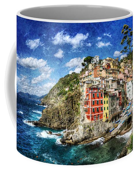 Riomaggiore Coffee Mug featuring the photograph Cinque Terre - Riomaggiore From Above- Vintage Version by Weston Westmoreland