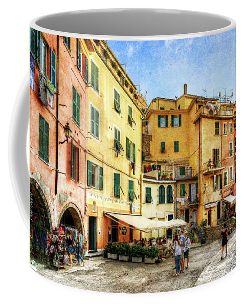 Cinque Terre Coffee Mug featuring the photograph Cinque Terre - Vernazza Main Street - Vintage Version by Weston Westmoreland