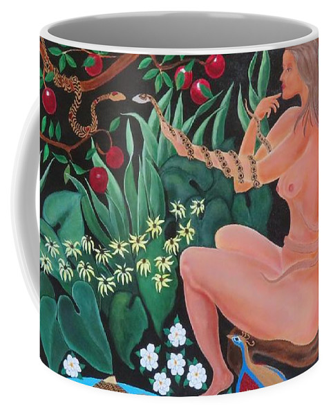 Eve Coffee Mug featuring the painting Circle Of Insanity by Ron Tango Jr