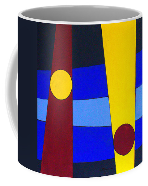 Abstract Coffee Mug featuring the painting Circles Lines Color by J R Seymour