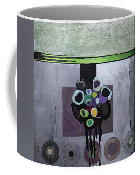 Abstract Coffee Mug featuring the painting Circles Of Celadon by Marlene Burns