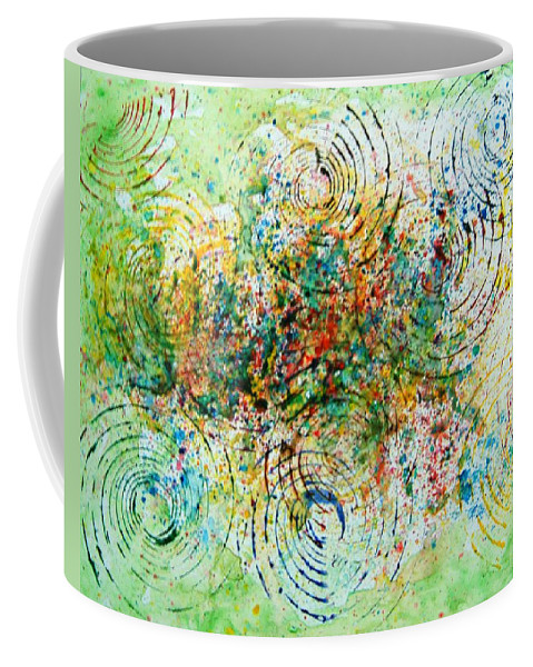 Abstract Yupo Paper Circles Green Red Yellow Blue Modern Pop Unique Landscape Coffee Mug featuring the photograph Circles Of Life by Manjiri Kanvinde