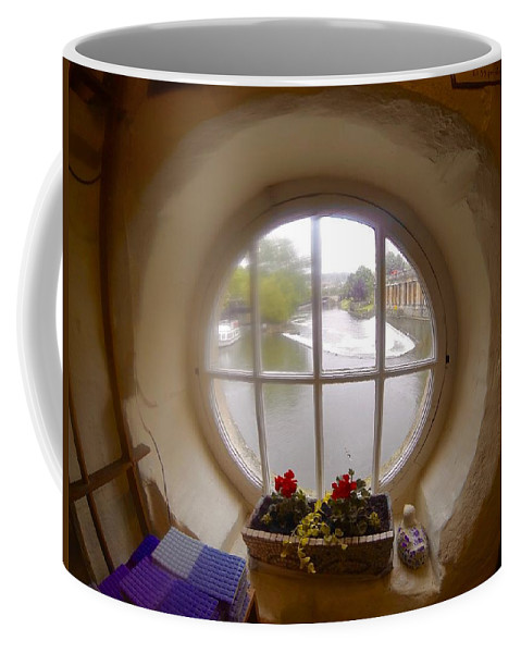Round Window Coffee Mug featuring the photograph Circular Window by Steve Swindells