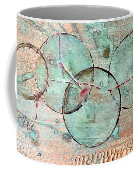 Abstract Coffee Mug featuring the painting Threads Of Possibility by T Fry-Green
