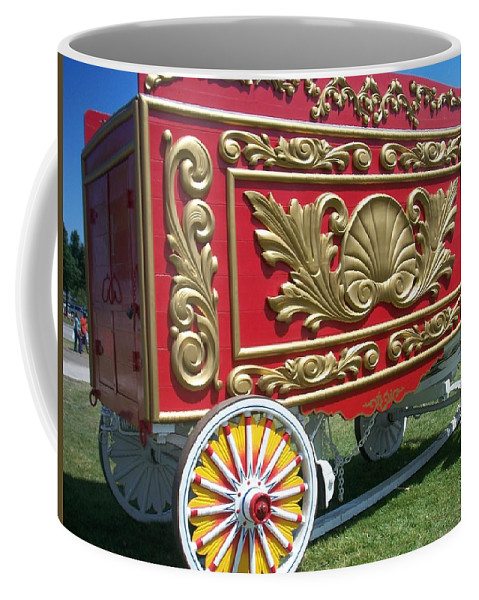 Circus Coffee Mug featuring the photograph Circus Car In Red And Gold by Anita Burgermeister