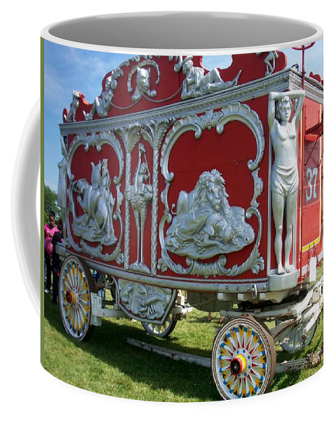 Circus Coffee Mug featuring the photograph Circus Car In Red And Silver by Anita Burgermeister