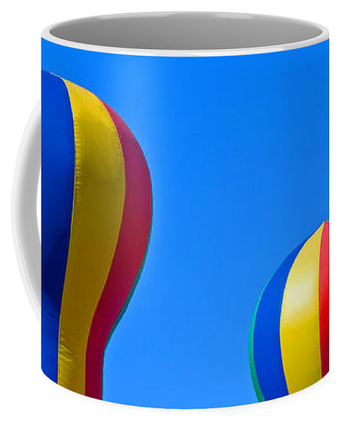 Red; Green; Yellow; Blue; Pillow; Sky; Circus; Carnival; Country; Fair; Ball; Balloon; Colors; Color Coffee Mug featuring the photograph Circus In The Sky - One by Allan Hughes