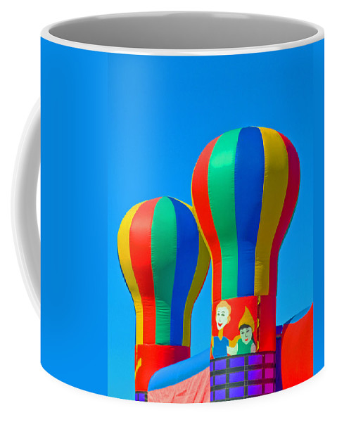 Pillow; Sky; Circus; Carnival; Country; Fair; Ball; Balloon; Colors; Colorful; Bounce; House; Castle Coffee Mug featuring the photograph Circus In The Sky - Three by Allan Hughes