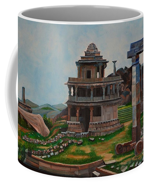 Landscape Coffee Mug featuring the painting Cithradurga Fort by Usha Rai