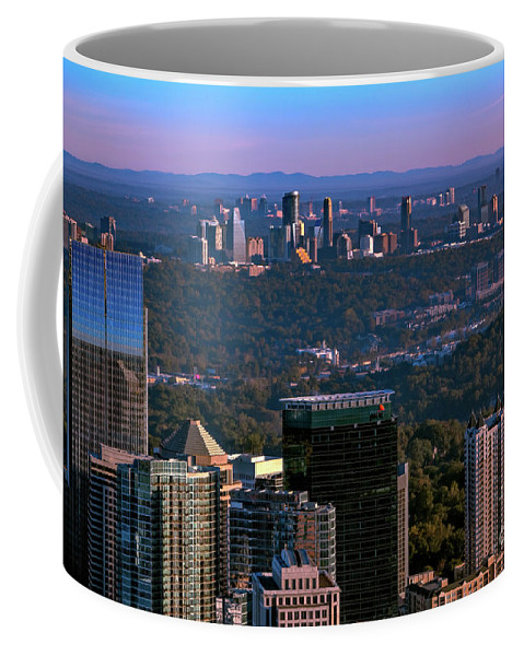 This Incredible View Taken From The Top Of The Bank Of America In Midtown Looking North Shows The Skylines Of Midtown Coffee Mug featuring the photograph Cities Of Atlanta by Doug Sturgess