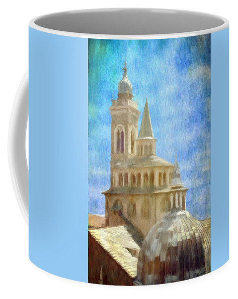 Above Coffee Mug featuring the painting Citta Alta From Above by Jeffrey Kolker