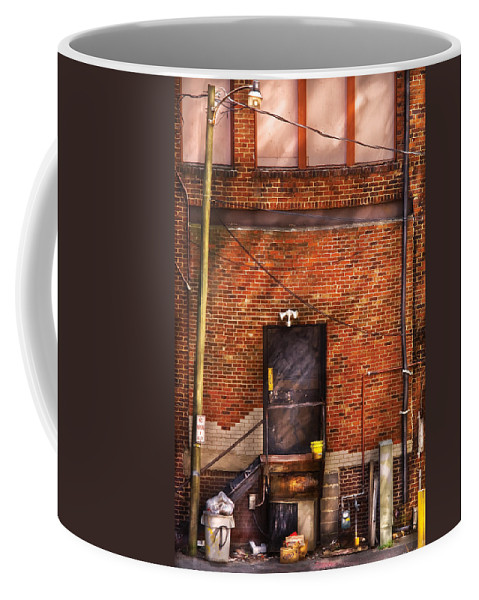 Savad Coffee Mug featuring the photograph City - Door - The Back Door by Mike Savad