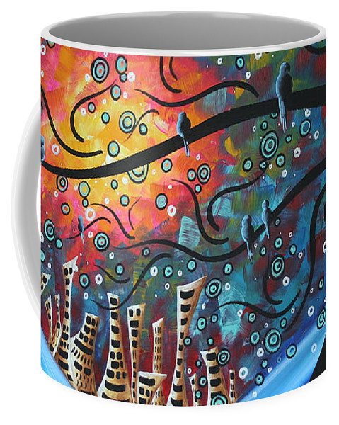Art Coffee Mug featuring the painting City by the Sea by MADART by Megan Duncanson