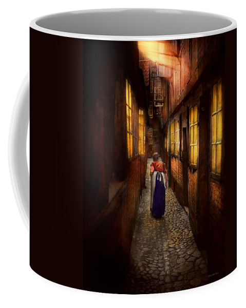 Alone Coffee Mug featuring the photograph City - Germany - Alley - A Long Hard Life 1904 by Mike Savad