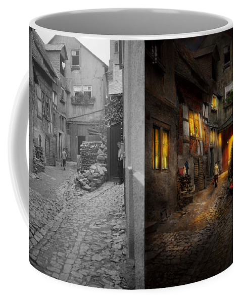 Europe Coffee Mug featuring the photograph City - Germany - Alley - Coming Home Late 1904 - Side By Side by Mike Savad