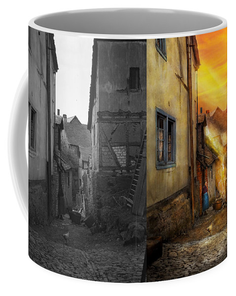 Alley Coffee Mug featuring the photograph City - Germany - Alley - The Farmers Wife 1904 - Side By Side by Mike Savad