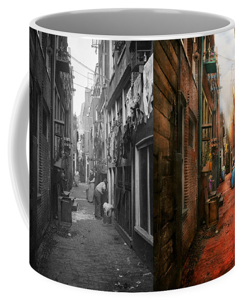 Poor Coffee Mug featuring the photograph City - Germany - Alley - The Other Half 1904 - Side By Side by Mike Savad