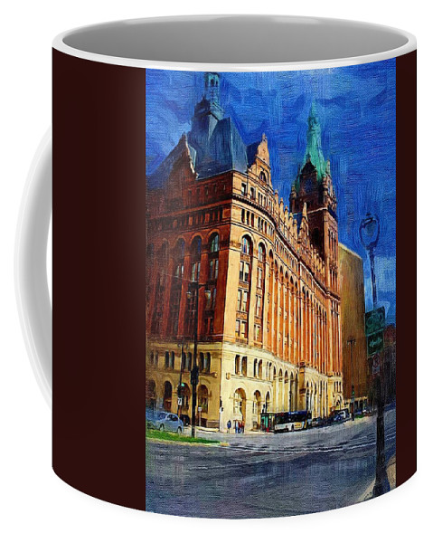 Architecture Coffee Mug featuring the digital art City Hall and Lamp post by Anita Burgermeister