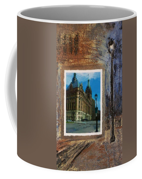City Hall Coffee Mug featuring the mixed media City Hall And Street Lamp by Anita Burgermeister