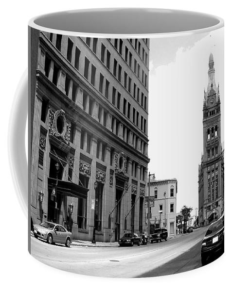Milwaukee Coffee Mug featuring the photograph City Hall B-w by Anita Burgermeister