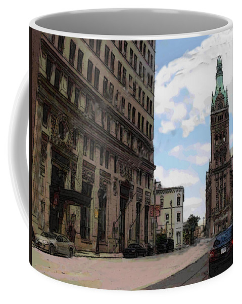 City Hall Coffee Mug featuring the digital art City Hall View From South by Anita Burgermeister