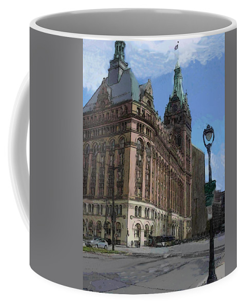 City Hall Coffee Mug featuring the digital art City Hall With Street Lamp by Anita Burgermeister