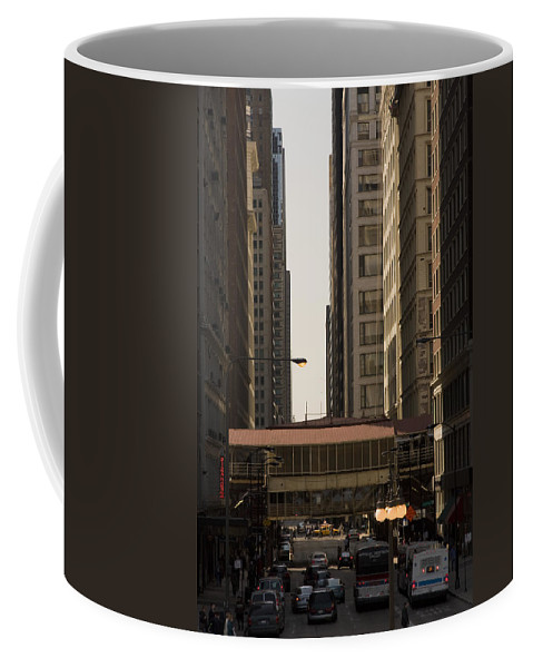 Chicago Windy City Street Trafic Bus People Building Skyscraper Metro Urban Coffee Mug featuring the photograph City Life by Andrei Shliakhau