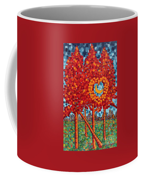 Park Scene Coffee Mug featuring the painting City Moonshine by Holly Carmichael