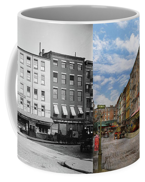 Self Coffee Mug featuring the photograph City - New York Ny - Fraunce's Tavern 1890 - Side By Side by Mike Savad