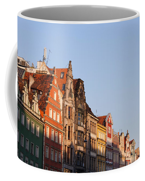 Wroclaw Coffee Mug featuring the photograph City Of Wroclaw Old Town Skyline At Sunset by Artur Bogacki