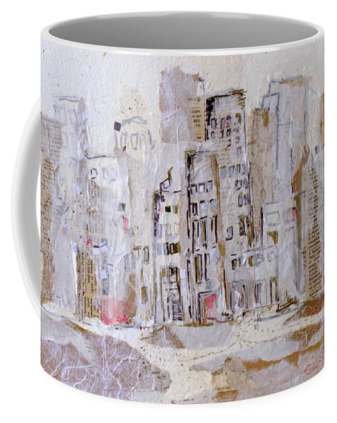 City Coffee Mug featuring the mixed media City On The River by Susie Stockholm