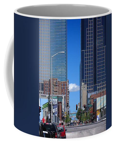 Kansas City Coffee Mug featuring the photograph City Street Canyon by Steve Karol