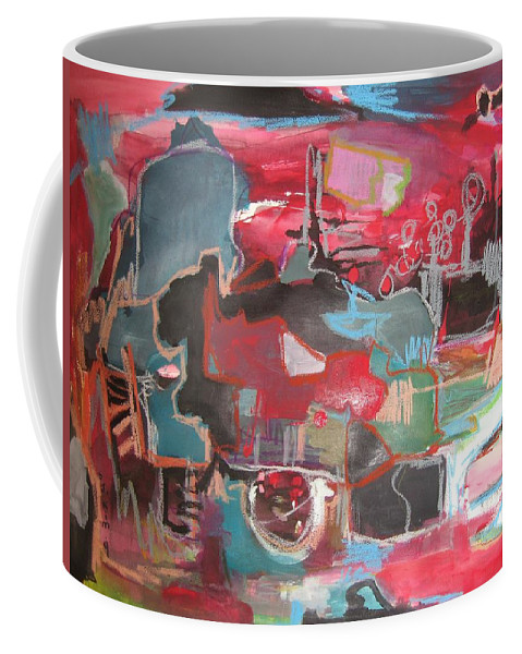 Abstract Paintings Coffee Mug featuring the painting Citysacpe At Twilight Original Abstract Colorful Landscape Painting For Sale Red Blue by Seon-Jeong Kim