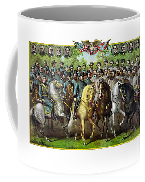 Civil War Coffee Mug featuring the painting Civil War Generals And Statesman by War Is Hell Store