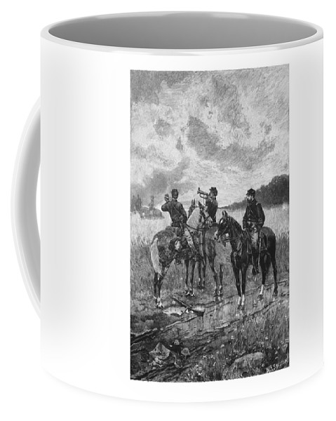 Civil War Coffee Mug featuring the mixed media Civil War Soldiers On Horseback by War Is Hell Store