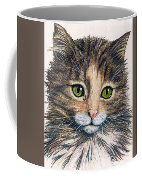 Cat Coffee Mug featuring the drawing Clarice by Kristen Wesch