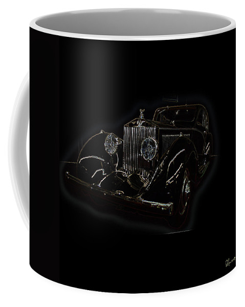 Classic Car Antique Show Room Vehicle Glowing Edge Black Light Chevy Dodge Ford Ride Coffee Mug featuring the photograph Classic 3 by Andrea Lawrence