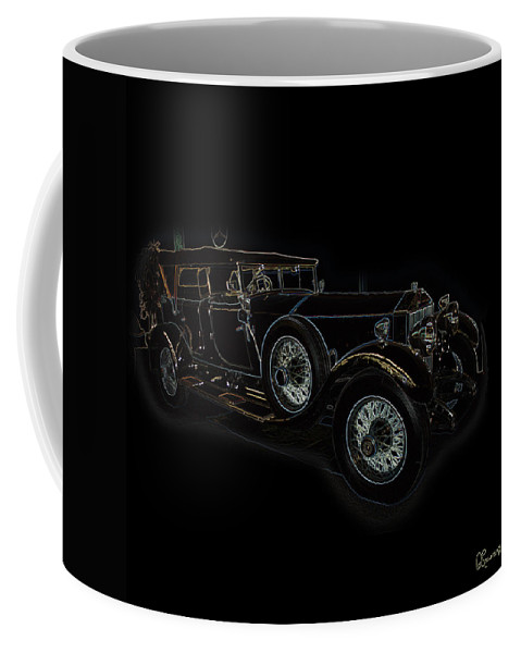 Classic Car Antique Show Room Vehicle Glowing Edge Black Light Chevy Dodge Ford Ride Coffee Mug featuring the photograph Classic 5 by Andrea Lawrence
