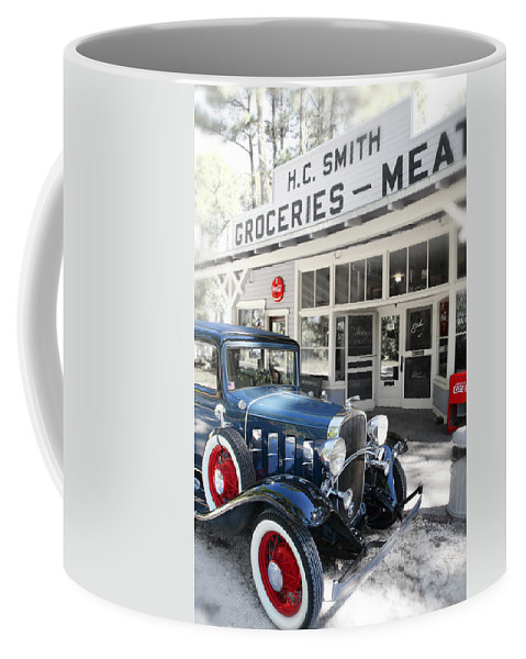 Chevy Coffee Mug featuring the photograph Classic Chevrolet Automobile Parked Outside The Store by Mal Bray