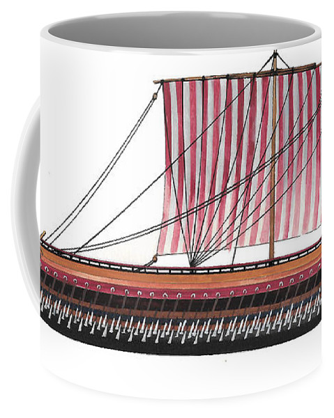Coffee Mug featuring the painting Classic Greek Triere by The Collectioner