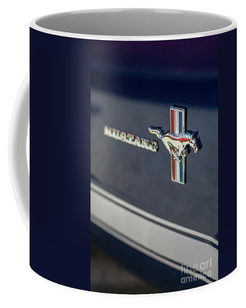 Chevy Coffee Mug featuring the photograph Classic Mustang Logo Closeup by Mike Reid