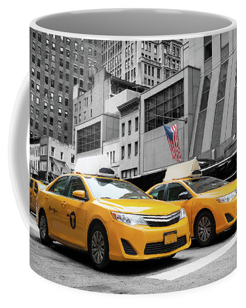 Street Coffee Mug featuring the photograph Classic Street View Of Yellow Cabs In New York City by Antonio Gravante