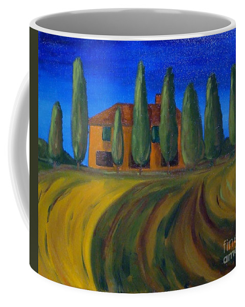Tuscany Coffee Mug featuring the painting Classic Tuscan Sunset by Laurie Morgan