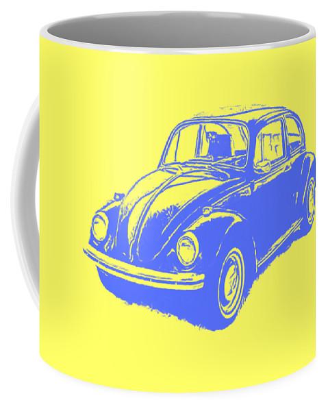 Vw Coffee Mug featuring the digital art Classic Vw Beetle Tee Blue Ink by Edward Fielding